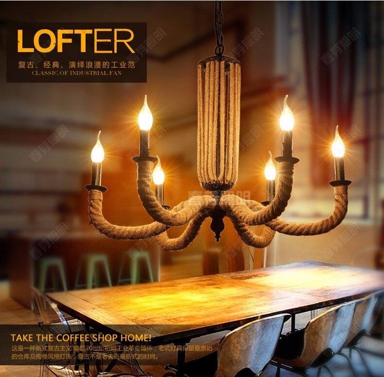 Amerikanische Landschaft LOFT Retro Minimalistischen Wohnzimmer Lampe Schlafzimmer Restaurant Bar Hotel Hanfseil Kronleuchter Pendelleuchte Licht