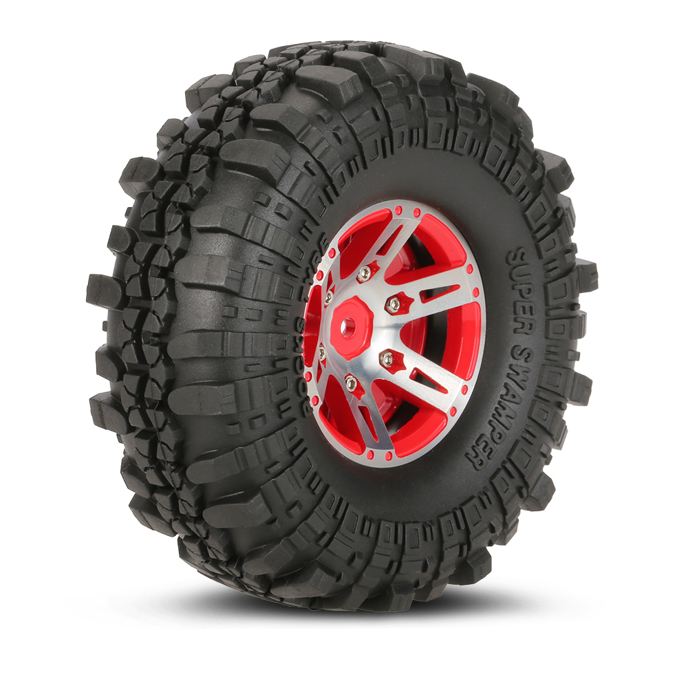 4Pcs AUSTAR AX-4020A 1.9 Inch 110mm 1/10 Rock Crawler Tires with Alloy Beadlock Wheel Rim for D90 SCX10 AXAIL RC4WD TF2 RC Car 1 10 rc rock crawler car wheels black alloy wheel rim 2 2inch beadlock wheel rims for wraith d90 90034 90035 rock truck parts