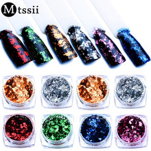 Mtssii 6 Colors Mirror Glitter Silver Gold Nail Sequins Irregular Shinning Aluminum Flakes Nail Art Glitter Powder Paillettes