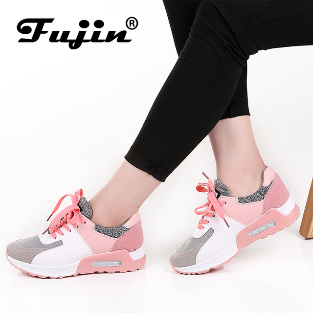 39a2b0c3807 Fujin 2019 Novos Sapatos de Couro Feitos À Mão Marca Tenis Feminino  Mulheres Casual Shoes Lace