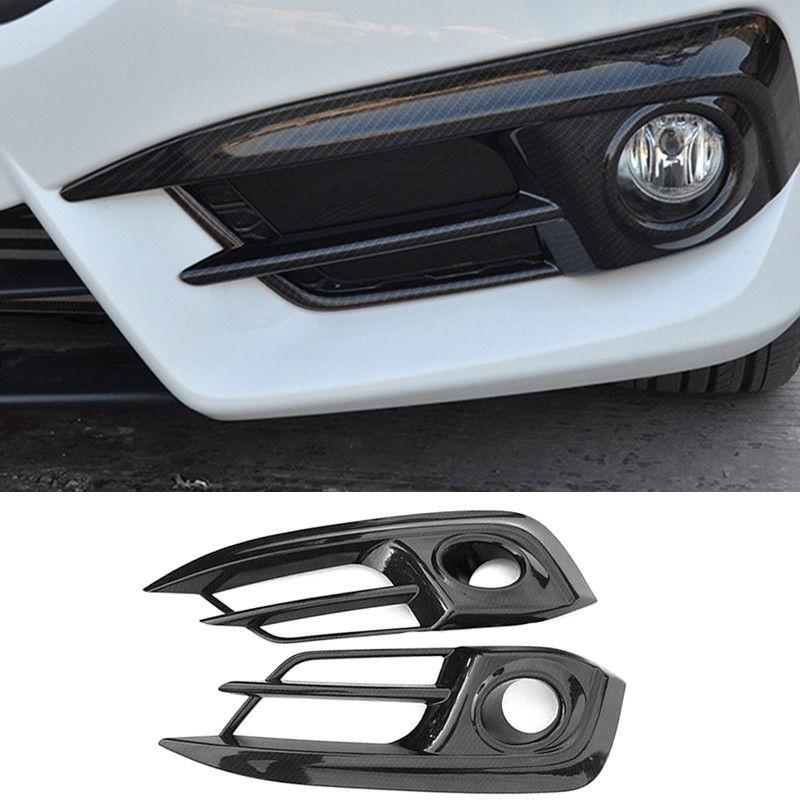Carbon Fiber ABS Car Front Fog Head Light Lamp Cover Trim For Honda Civic 2016 2017