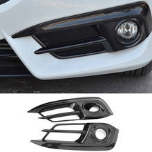 Carbon Fiber ABS Car Front Fog Head Light Lamp Cover Trim For Honda Civic 2016-2017 Car Sticker Chromium Styling Exterior Parts(China)