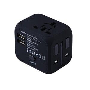 Image 3 - Spina elettrica adattatore per presa di corrente convertitore universale per caricabatterie da viaggio internazionale EU UK US AU con 2 LED di ricarica USB 2.4A