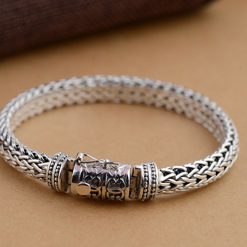 Gz Pure 925 Silver Bracelet Punk Mest Chain S925 Thai 9mm Width 21cm Length Bracelets For Men Jewelry In Strand From Accessories