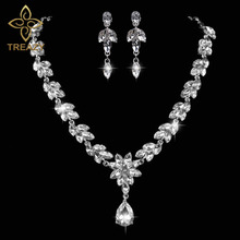 TREAZY Luxurious Wheat Teardrop Crystal Wedding Bridal Jewelry Set Silver Color Necklace Earrings Set for Women Accessories