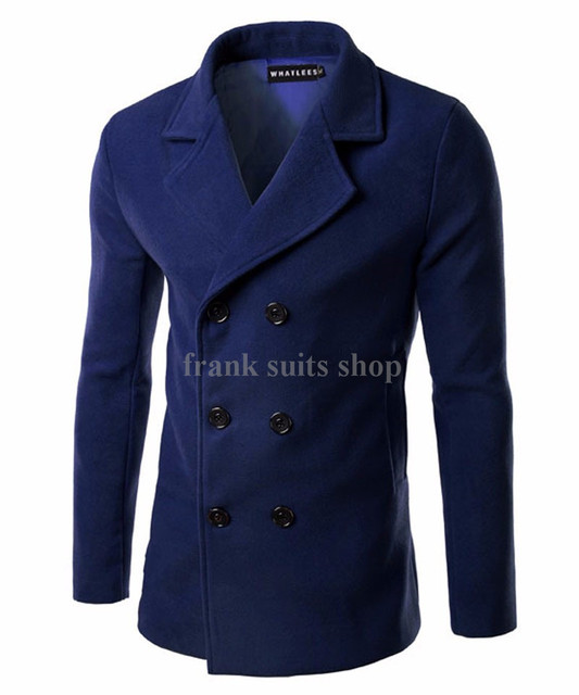 Custom made 2016 Wool Turn-down Collar Coat Mens Double Breasted Woolen Pockets Overcoat