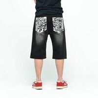 Relaxed Fit Baggy Denim Shorts Back Letters Printed Hiphop Black Jeans 2017 Mens Skateboard Streetwear