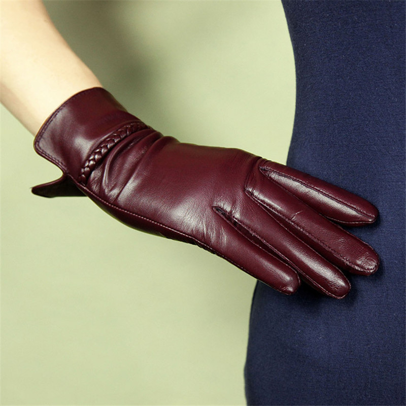 Women Gloves Fashion Genuine Leather Sheepskin Gloves Female Autumn Winter Warm Plush Lined Elegant Driving Mittens XC-234L