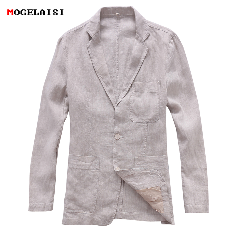 Autumn Suits Men Linen Cotton Chinese Style Flax Jacket Slim Retro Men's Suit Solid  Single Breasted Jacket Asian Size S-XXL