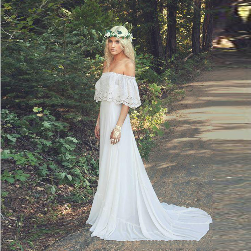 2016 vintage romantic bohemian wedding dresses bateau neck sweep train lace chiffon a line plus size