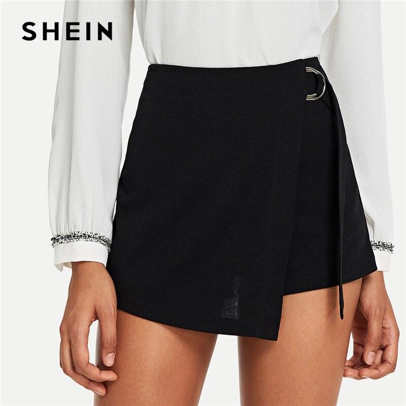 SHEIN negro elegante Oficina dama Wrap sólido nudo cremallera Mediados de cintura volar sólido 2018 verano otoño Highstreet mujeres pantalones cortos