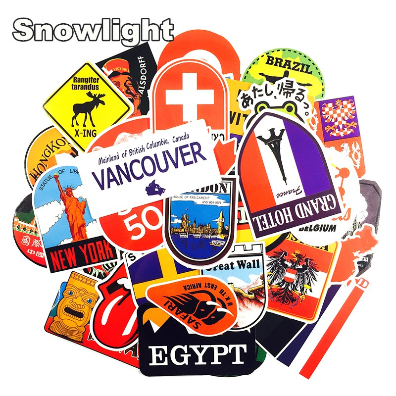 40 Pcs Retro Style Travel Hotel Stickers For Laptop Suitcase Luggage Bike Skateboard Car Styling Phone Vinyl Decals DIY Sticker