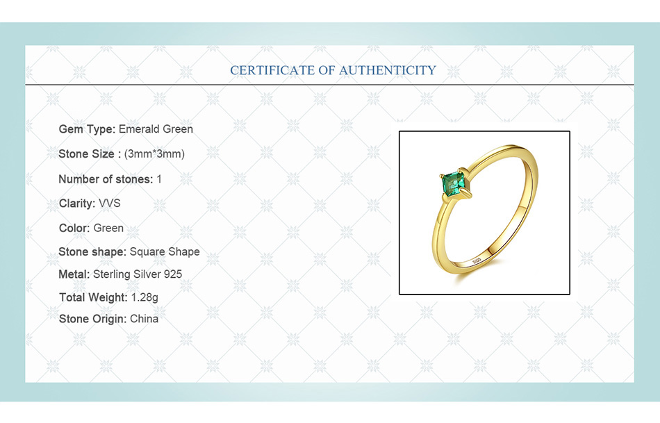 HTB1FzQ.XyfrK1RjSspbq6A4pFXal DR Square Shape VVS Emerald Green Rings for Women Real 925 Sterling Silver Gold Color Finger Ring in Anniversary Ring Gifts