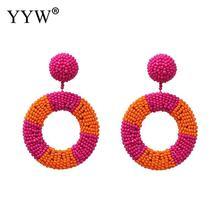 YYW Colorful Beads Star Earrings For Women Handmade Ear Accessories Big Drop Dangle Earrings Bohemian Jewelry Wholesale Ins недорого