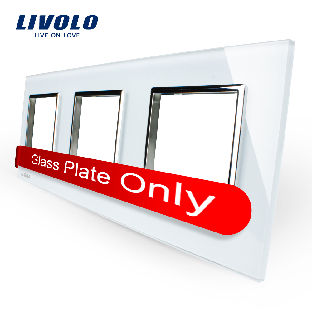 Livolo Luxury White Pearl Crystal Glass 222mm 80mm EU standard Triple Glass Panel For Wall font
