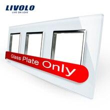 Livolo Lujo de Perlas de Cristal Blanco, 222mm * 80mm, estándar de LA UE, Vidrio Triple Panel de Interruptor De Pared y Zócalo, VL-C7-SR/SR/SR-11