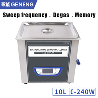 GENENG Power Adjustable 10L Ultrasonic Cleaner Bath Time Heat Sweep Frequency degassing Oil Rust Degreasing Ultrasound machine