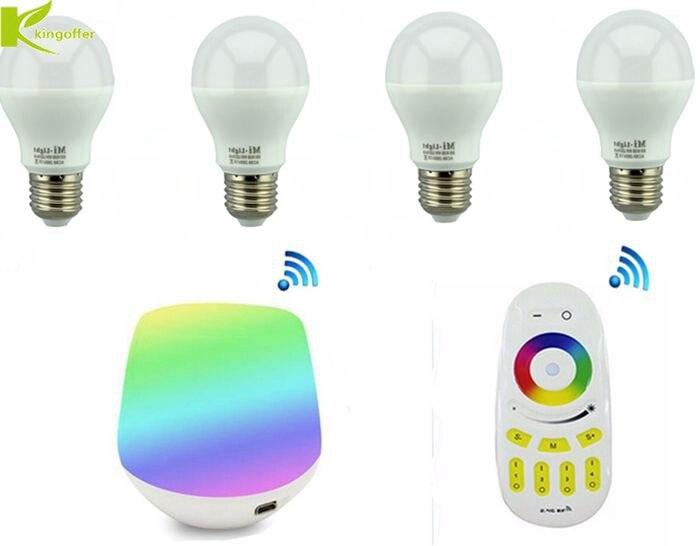 4 pièces Milight LED RGBCW RGBWW RGBCCT ampoule 6 W E27 lampe intelligente 2.4G 4 zones RF télécommande sans fil et contrôleur Wifi iBox
