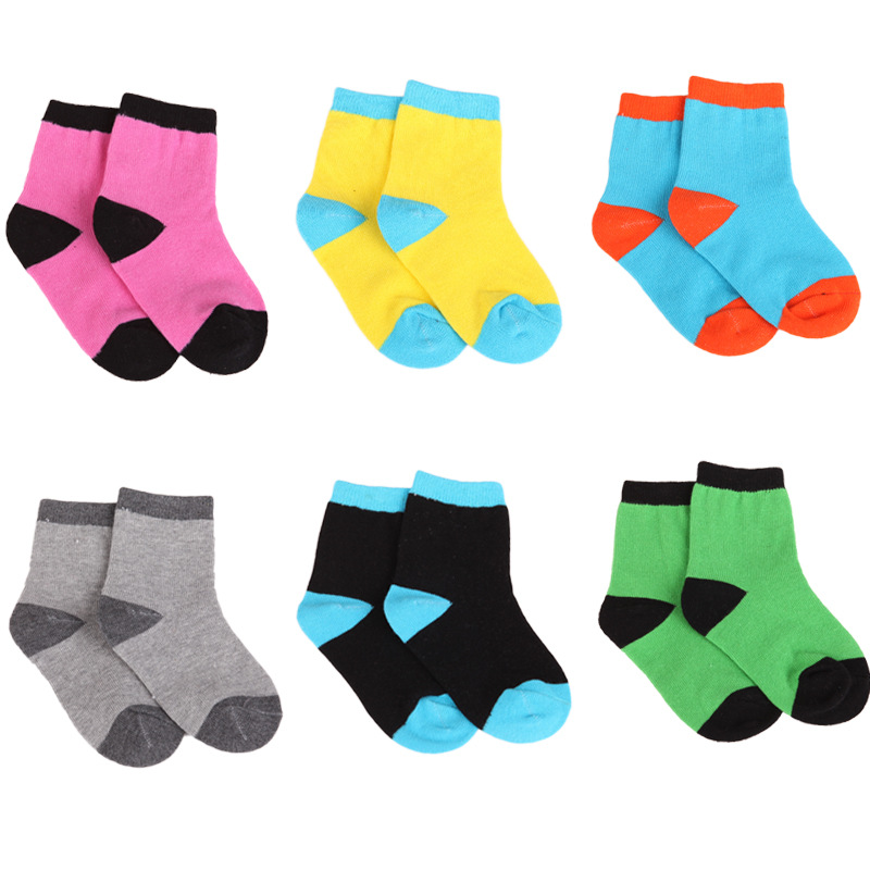 5 pairs / lot kids socks Spring&autumn Lovely stripe Candy pure color cotton boys socks with girls socks 1-9 year chidren socks