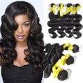 4 Bundles brasileira onda do corpo 30 32 34 polegada Top 8A Halo Lady cabelo brasileiro do cabelo humano tece frete grátis brasileiro virgem cabelo