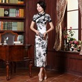 Vintage White and Black Elegance Long Chinese Dress Summer Silk Retro Qipao With Lace for Women Evening Party Dress Costume 18