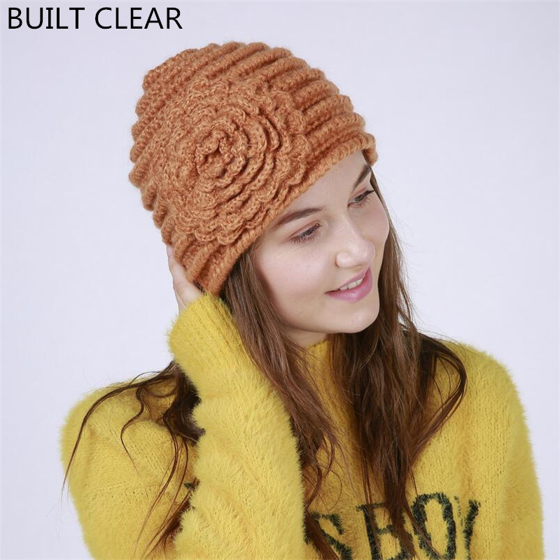 New winter women Europe and the United States handmade stripes a large flower fashion warm knit hat winter sets of wool cap wuhaobo the new arrival of the cashmere knitting wool ladies hat winter warm fashion cap silver flower diamond women caps
