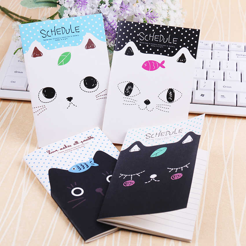 1PC Office Stationery Cute Cat Notebook Students Diary Filofax Notepad School Supplies Gift Sent at Random