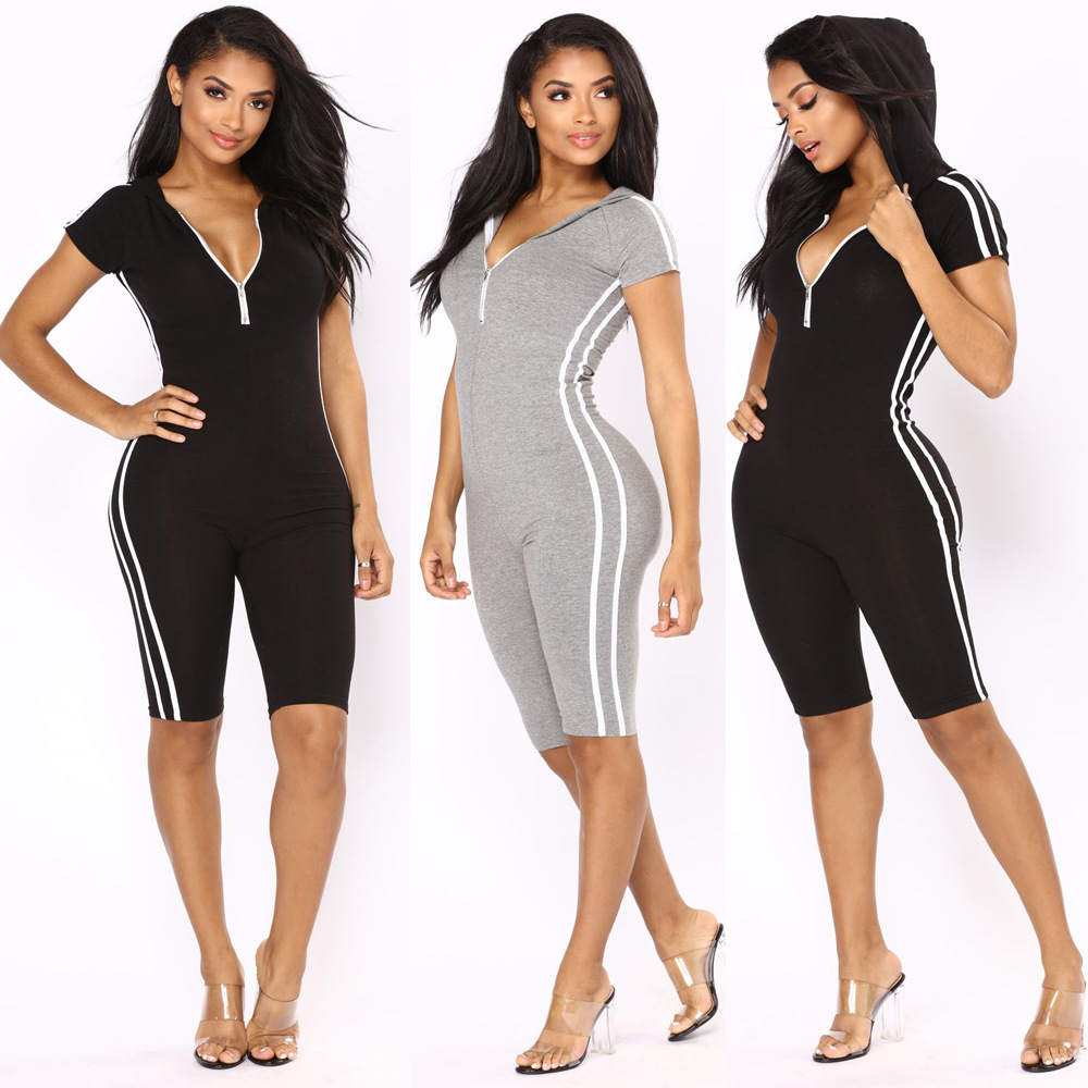 OMILKA Rompers and Jumpsuits 2018 Summer Women Short Sleeve Hooded Front Zipper Black Bodycon Side Striped Knee Length Playsuits