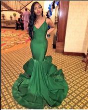 2017 Sexy Abendkleid für Schwarze Frauen Abendkleider Meerjungfrau grün V-ausschnitt Neue Ankunft Preiswerte Lange Abschlussball-kleider Party Kleid kleid