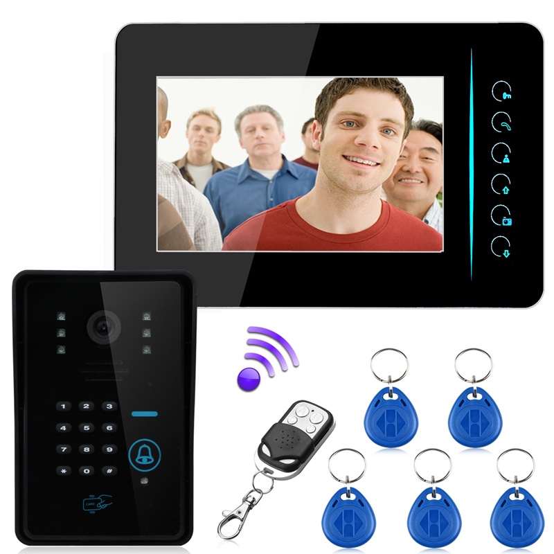 Best Price 7'' wireless 2.4G color video door phone Intercom system rfid password monitor and CMOS IR Night Camera 815MJIDSW11 mymei best price new portable 3 5mm pillow speaker for mp3 mp4 cd ipod phone white