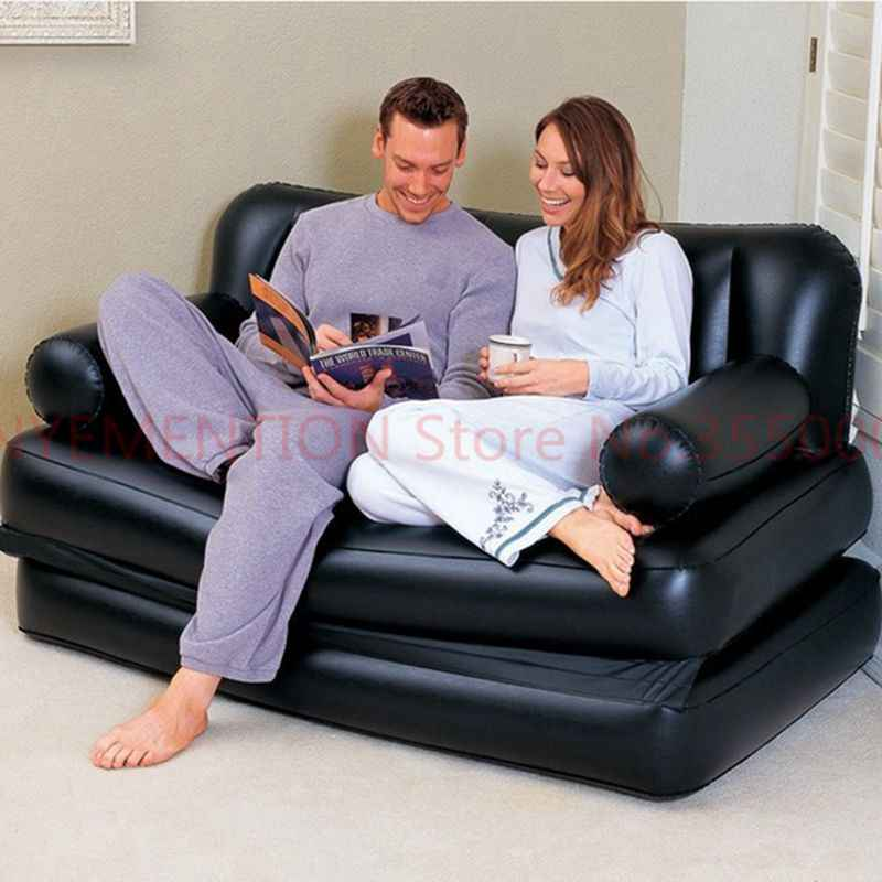 Duas pessoas do banco grande saco de feijão espreguiçadeira, preto sólido de ar inflável sofá, sofá da sala, sofá conjunto mobiliário de interiores 5 pcs