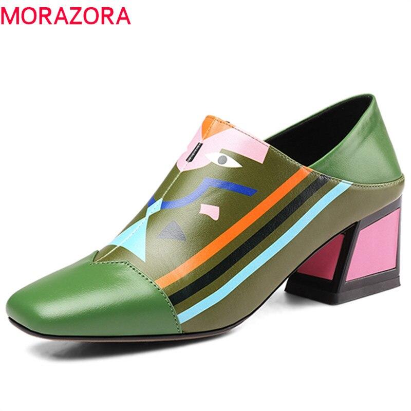 MORAZORA 2019 newest genuine leather women pumps mixed colors unique high heels shoes fashion dress shoes