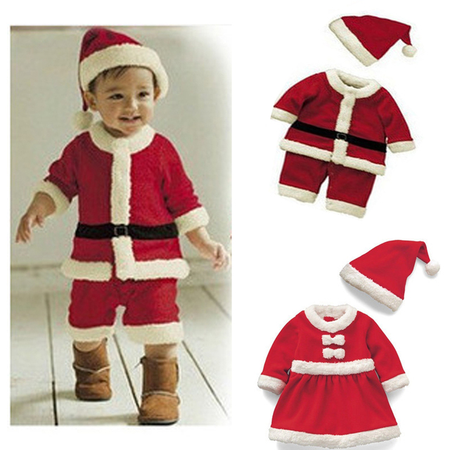 48ce61427202 2018 New Baby Girls Dress Christmas Costumes Red Toddler Kids Boys Santa  Claus Clothing Sets Halloween Xmas Party Outfit Gifts