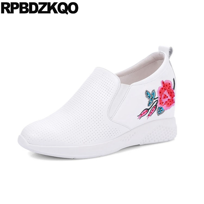 3 Inch Flower White Floral Wedge Increase Fashion High Heels Round Toe Embroidered Casual Shoes Women Pumps Embroidery Hidden big size high heels round toe women platform shoes cool casual white lace wedge black creepers medium pumps mesh chinese fashion