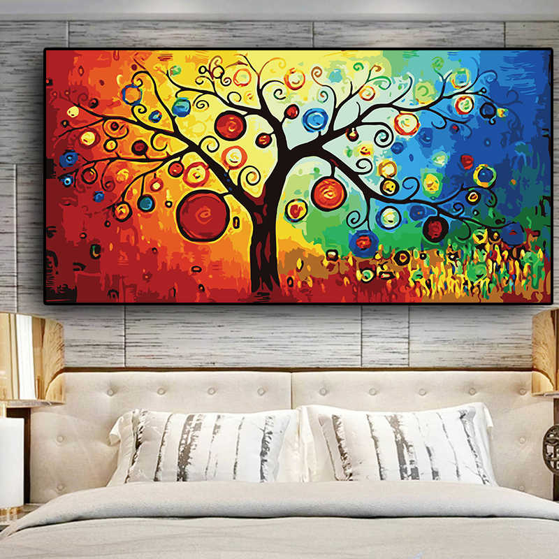 Tree of Life  Money Tree Abstract Oil Painting on Canvas Scandinavian Posters and Prints Modern Wall Art Picture for Living Room