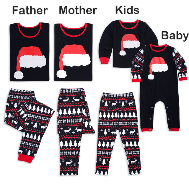Family Matching Xmas Pajamas Set Women Kid Dad Adult PJs Fun Sleepwear  Nightwear Christmas Hat Print f6c998e03