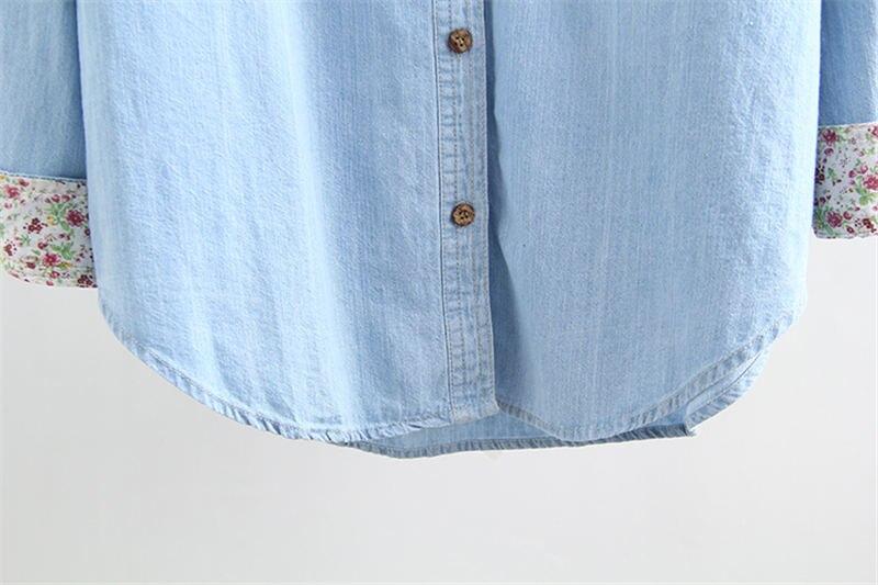Q1279 ヴィンテージジーンズシャツ女性長袖プラスサイズジーンズシャツカジュアルストリート女性はデニムシャツブラウス女性服 Stop118 Dreawse 12