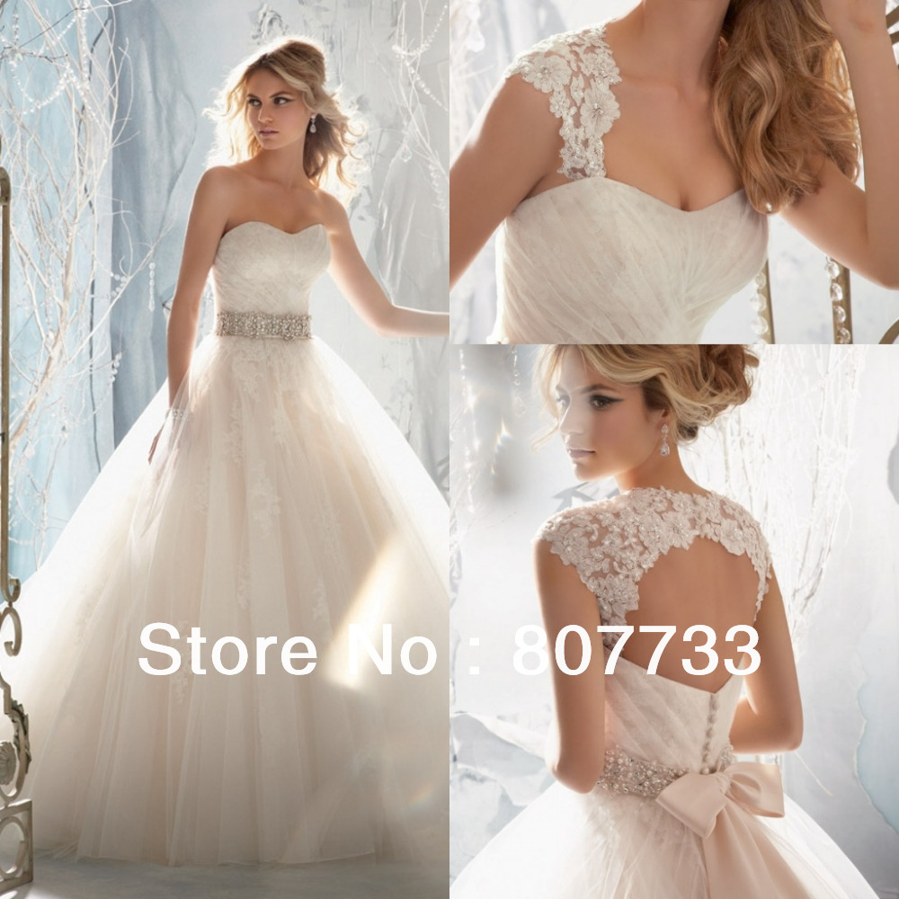 JMW091 Stylish with detachable straps beaded A Line bridal gowns lace wedding dress 2015in