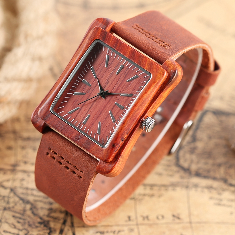 Rectangle Dial Wooden Watches for Men Natural Wood Bamboo Analog Display Genuine Leather Band Quartz Clocks Male Christmas Gifts 2020 2019 (22)