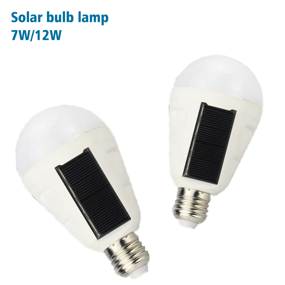 все цены на Portable E27 Rechargeable LED Solar lamp 7W 12W 85V-265V Smart Power Outages Emergency Bulb Camping Hiking Fishing Outdoor light онлайн