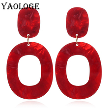 YAOLOGE Simple Oval Acrylic Earrings Pattern Exaggerated Bohemian Style Hollow Vintage Statement Fashion Jewelry For Women New