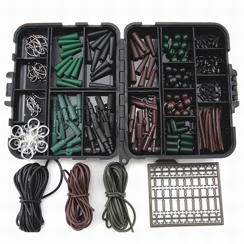 Professional Fishing Carp Hair Rig Set Clips Hooks Rubber Tubes Swivels Beads Tackle Box for River Lake Fishing Lover Accessory