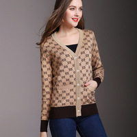 2018 Spring New Arrival V Neck Letter Jacquard Weave Panelled Knitwear Cardigan Fashion Women All Matched
