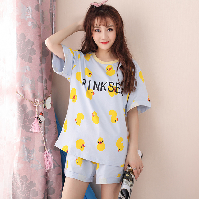 3f9fbab82e43 2017 Summer Women Sleepwear Cute Yellow Duck Pattern Short Sleeve Pajama  Sets Nightgowns Home Clothes For