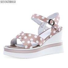 8f87c13b403a04 Femmes sandales à talons compensés talons hauts plate-forme de point de  soie fille chaussures pour femme style d'été rose noir c.