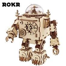 ROKR DIY стимпанк робот музыкальная шкатулка 3D Деревянный пазл музыкальные игрушки сборка Модель Строительный набор для Прямая доставка Оптовая продажа AM601