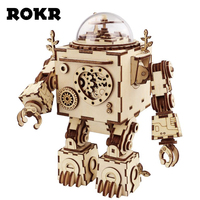 ROKR DIY Steampunk Robot Music Box 3D Wooden Puzzle Musical Toys Assembly Model Building Kit For Drop Shipping Wholesale AM601