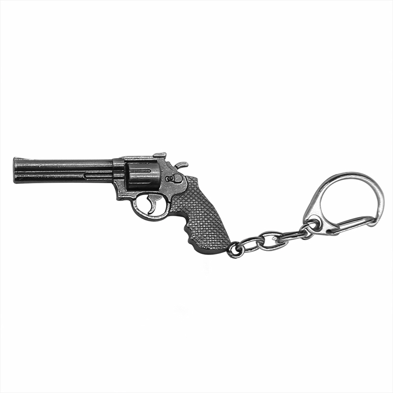 Trendy Gun Keychain Hot Game imitado Revolver Gun Key Chains 3D Weapon Arms Black Metal Key Chain Jewelry Unisex Drop Shipping