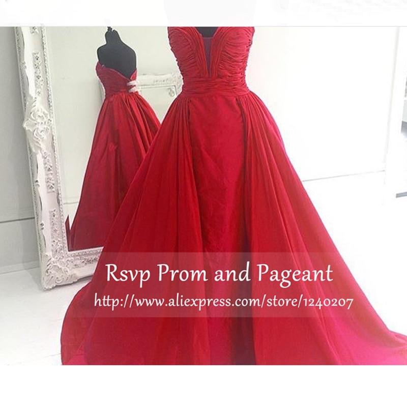 7bea2896a Hermosos vestidos de fiesta 2017 elegante una línea de novia de escote  fuera del hombro plisado piso longitud de largo rojo prom dress en Vestidos  de baile ...