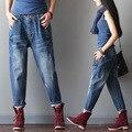Coreano moda grande bolso das calças de brim do sexo feminino foi cintura fina meia-calça azul jeans
